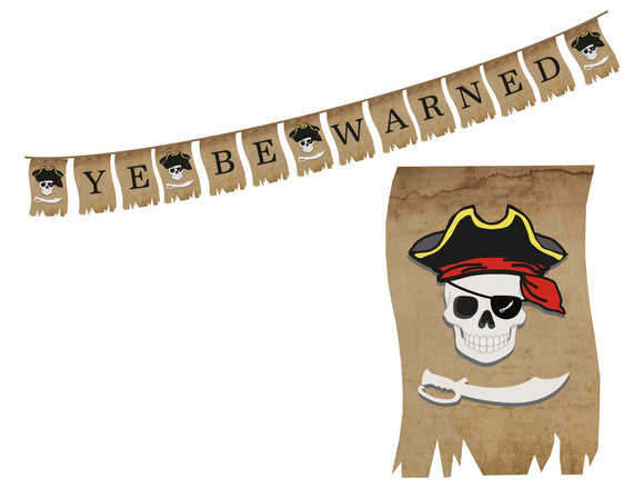 Ye Be Warned Pirate Banner Instant Digital Download Pirate Birthday Party