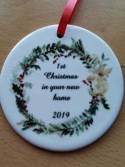Ceramic Round Decoration Ornament - christmas in new home - whitworthprints