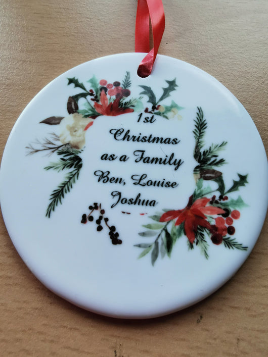 Ceramic Round Decoration Ornament - first christmas as family - whitworthprints