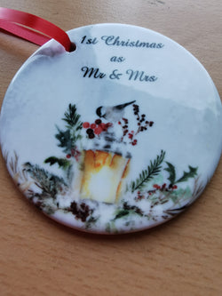 Ceramic Round Decoration Ornament - 1st_christmas_mr_and_mrs - whitworthprints