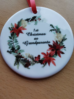 Ceramic Round Decoration Ornament - 1st_christmas_as_grandparents - whitworthprints
