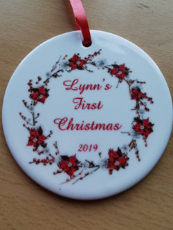 Ceramic Round Decoration Ornament - NAMES_1st_christmas - whitworthprints
