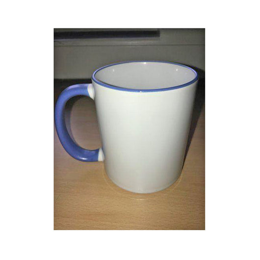 Personalised Photo Mug Mid Blue Rim and Handle(11oz) - whitworthprints