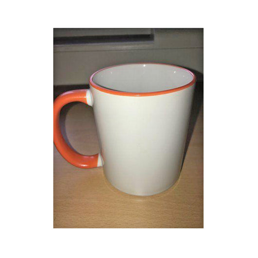 Personalised Photo Mug Orange Rim and Handle(11oz) - whitworthprints