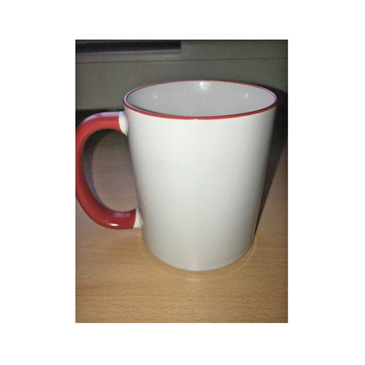 Personalised Photo Mug red Rim and Handle(11oz) - whitworthprints