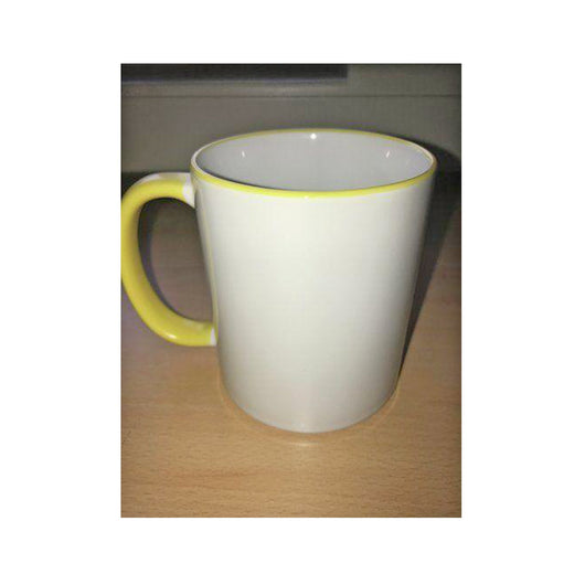 Personalised Photo Mug yellow Rim and Handle(11oz) - whitworthprints
