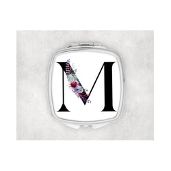 Black Inital Square compact mirror. - whitworthprints