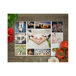 Collage Rectangle  glass chopping board - whitworthprints