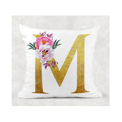 Gold Initial cushion cover - whitworthprints
