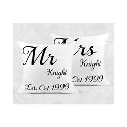 Mr & Mrs cushion cover - whitworthprints