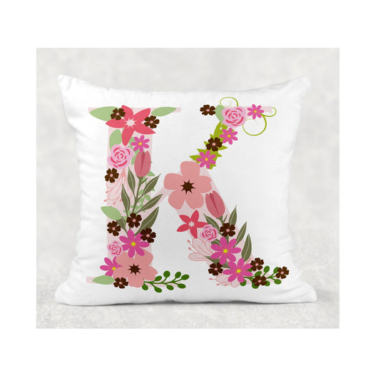 Pink Flower Initial cushion cover - whitworthprints