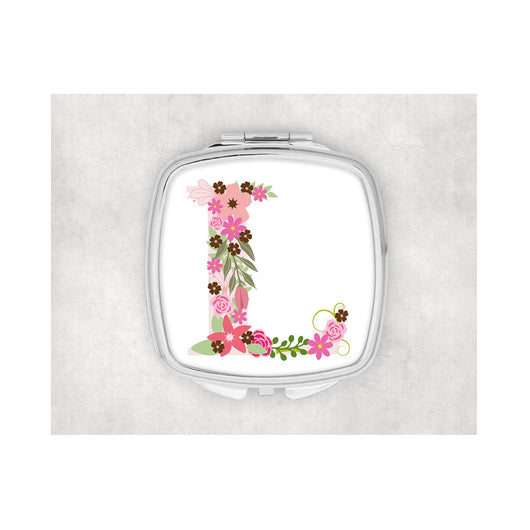 Pink Flower Inital Square compact mirror.