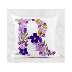Purple Flower Initial cushion cover - whitworthprints