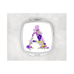 Purple Flower Inital Square compact mirror. - whitworthprints