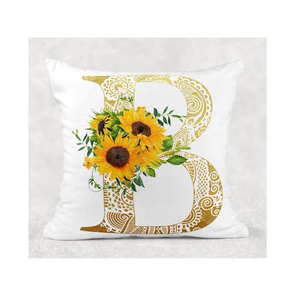 Ornamental Gold Initial cushion cover