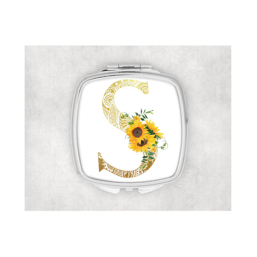 Sunflower Inital Square compact mirror. - whitworthprints