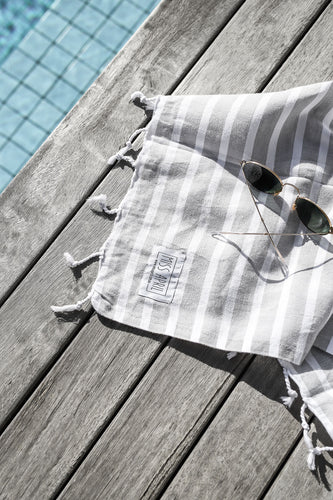 Santorini Turkish Towel - Pale Grey & White