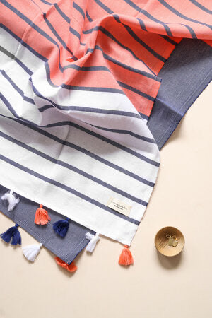 Panama Turkish Towel | Navy & Coral