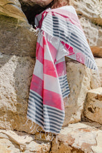 Load image into Gallery viewer, Flamenco Turkish Towel - Pink & Denim Blue