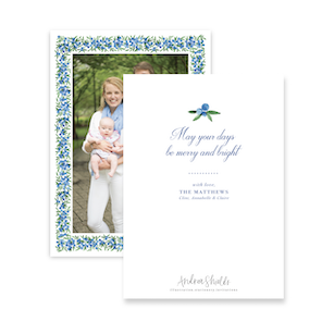 Blue Berries Border | Holiday Photo Card