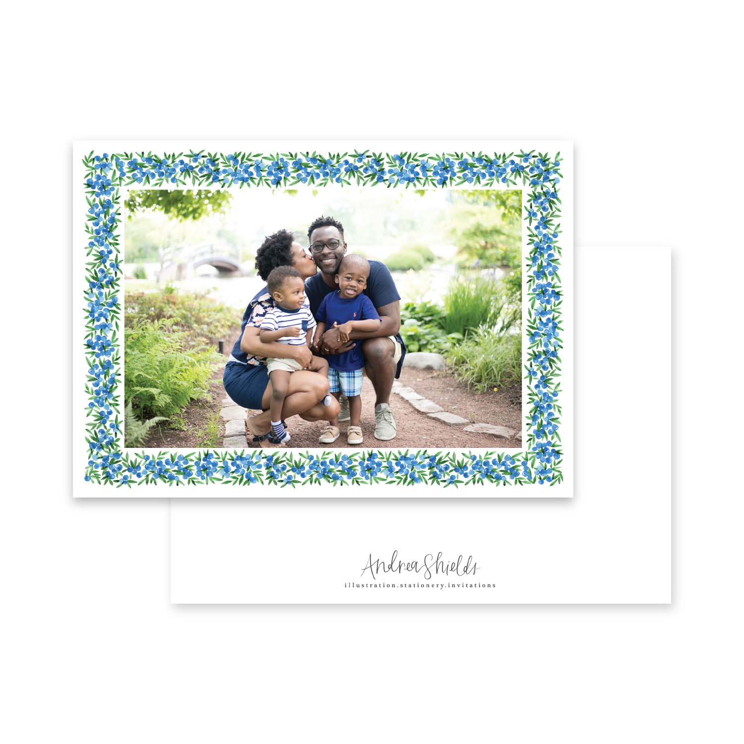 Blue Berries Border Landscape | Holiday Photo Card