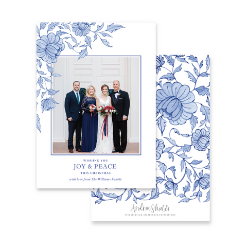 Blue Chinoiserie Corner | Holiday Photo Card