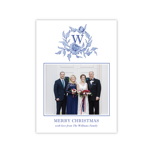 Blue Chinoiserie Crest | Holiday Photo Card