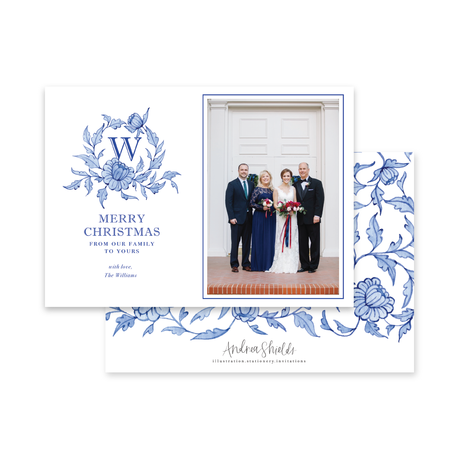 Blue Chinoiserie Crest Landscape | Holiday Photo Card