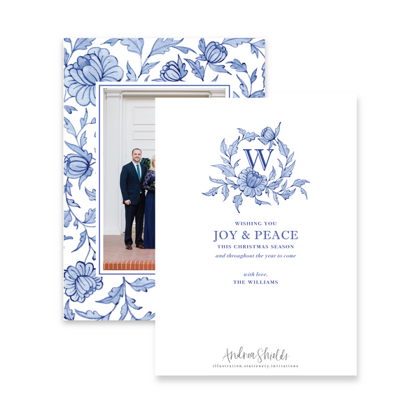 Blue Chinoiserie Pattern | Holiday Photo Card