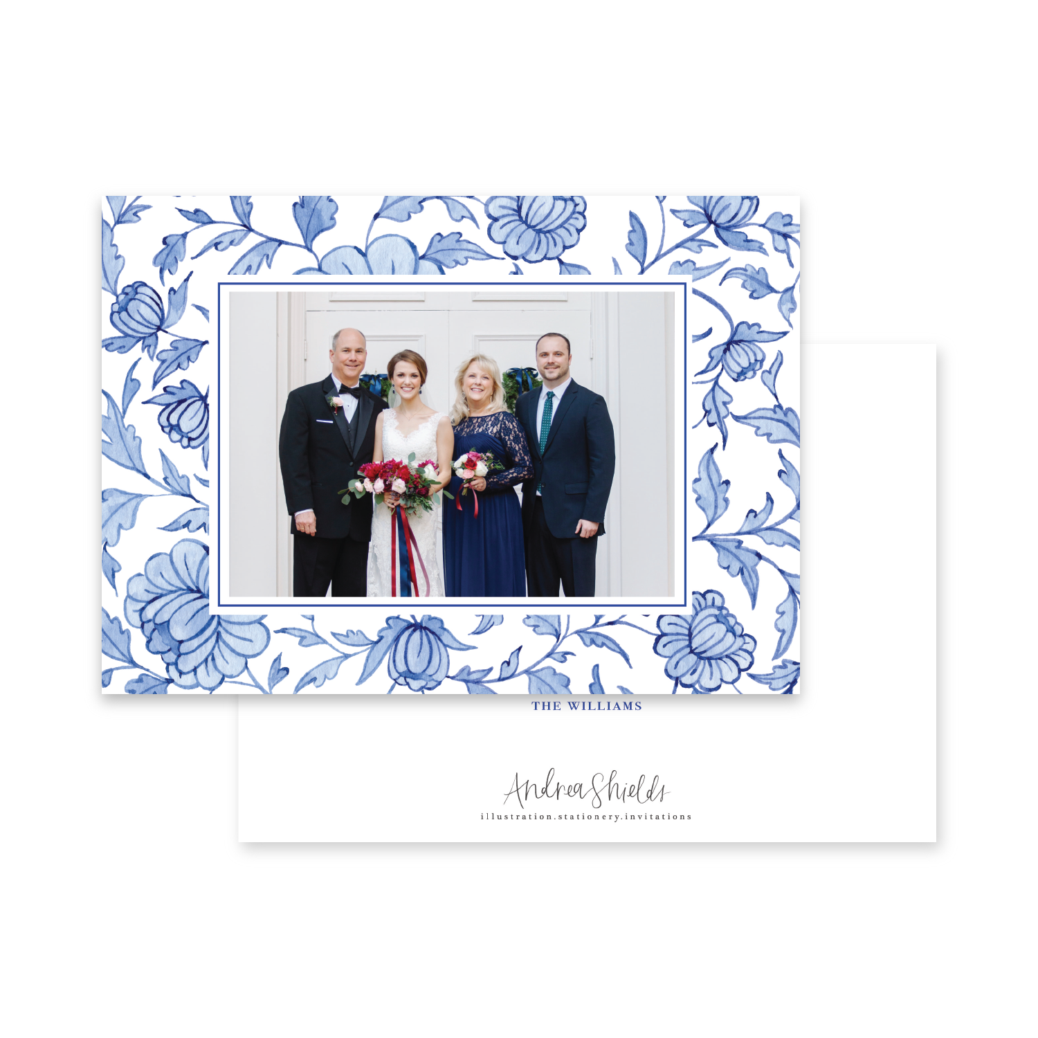 Blue Chinoiserie Pattern Landscape | Holiday Photo Card