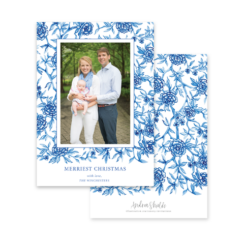 Blue Ginger Jar Pattern | Holiday Photo Card