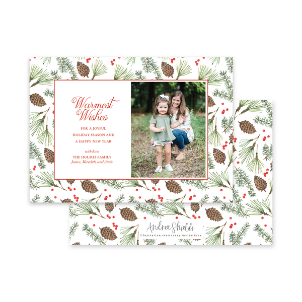 Christmas Pine Landscape | Holiday Photo Card