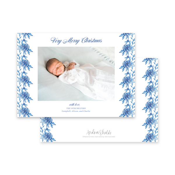 Classic Blue Floral Landscape | Holiday Photo Card