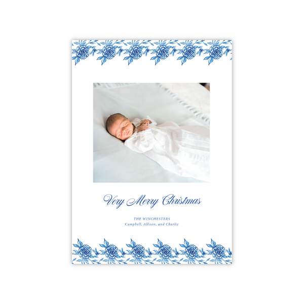 Classic Blue Floral | Holiday Photo Card