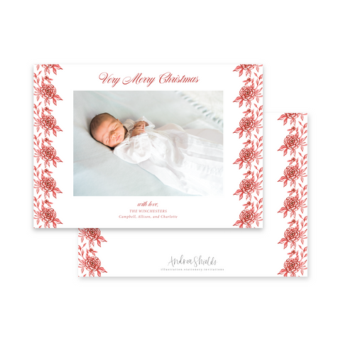 Classic Red Floral Landscape | Holiday Photo Card
