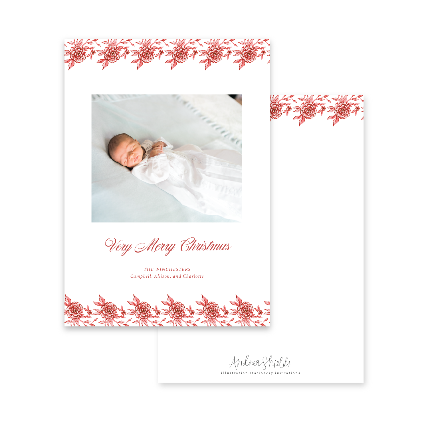 Classic Red Floral | Holiday Photo Card
