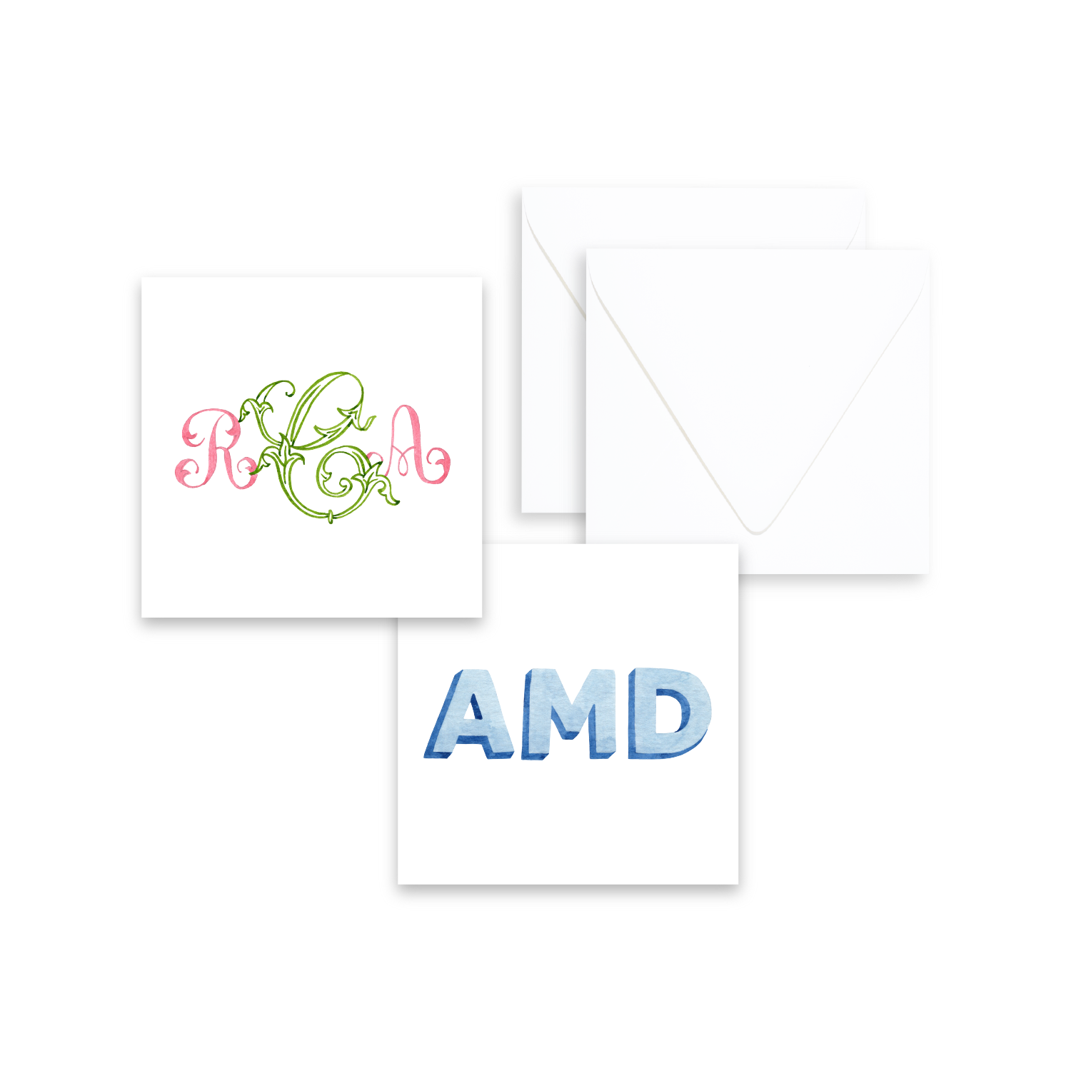 Enclosure Cards | Hand Painted Monogram Stationery