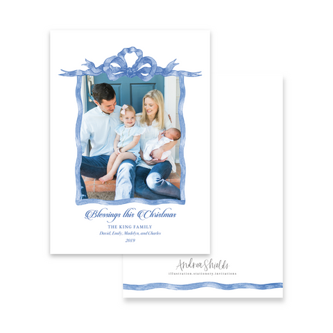 Blue French Frame | Holiday Photo Card