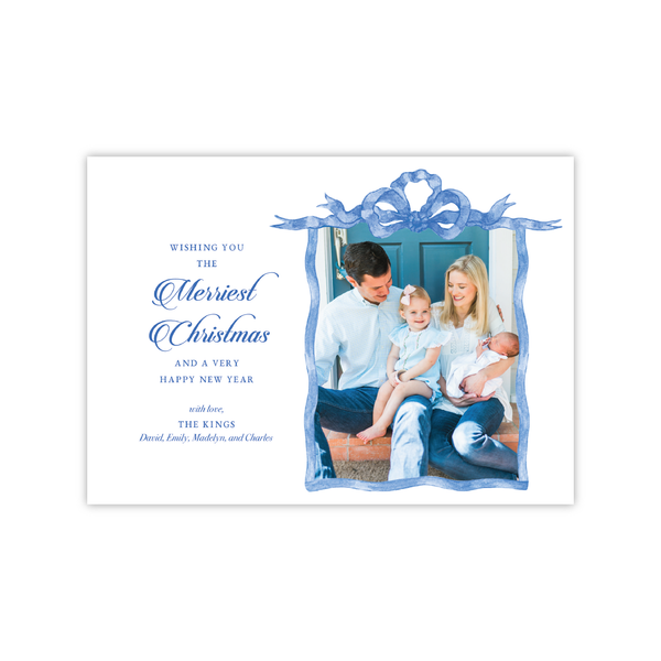 Blue French Frame Landscape | Holiday Photo Card
