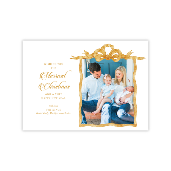 Gold French Frame Landscape | Holiday Photo Card