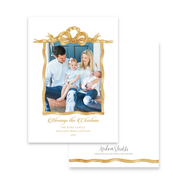 Gold French Frame | Holiday Photo Card