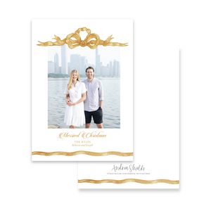 Gold Ribbon | Holiday Photo Card