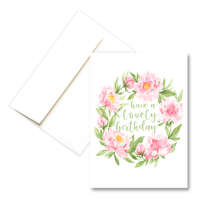 Lovely Birthday Peony Wreath | Greeting Card