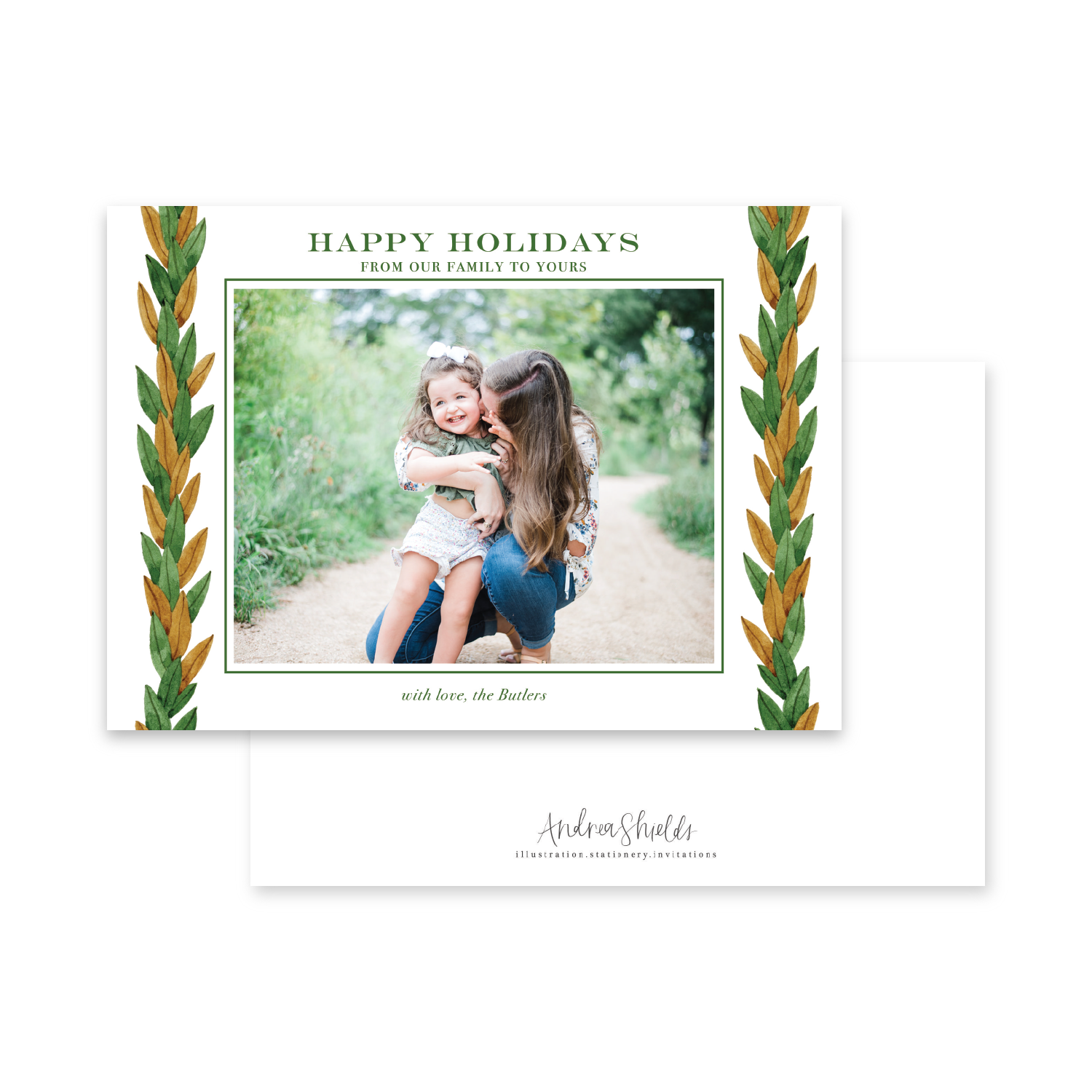 Magnolia Garland Landscape | Holiday Photo Card
