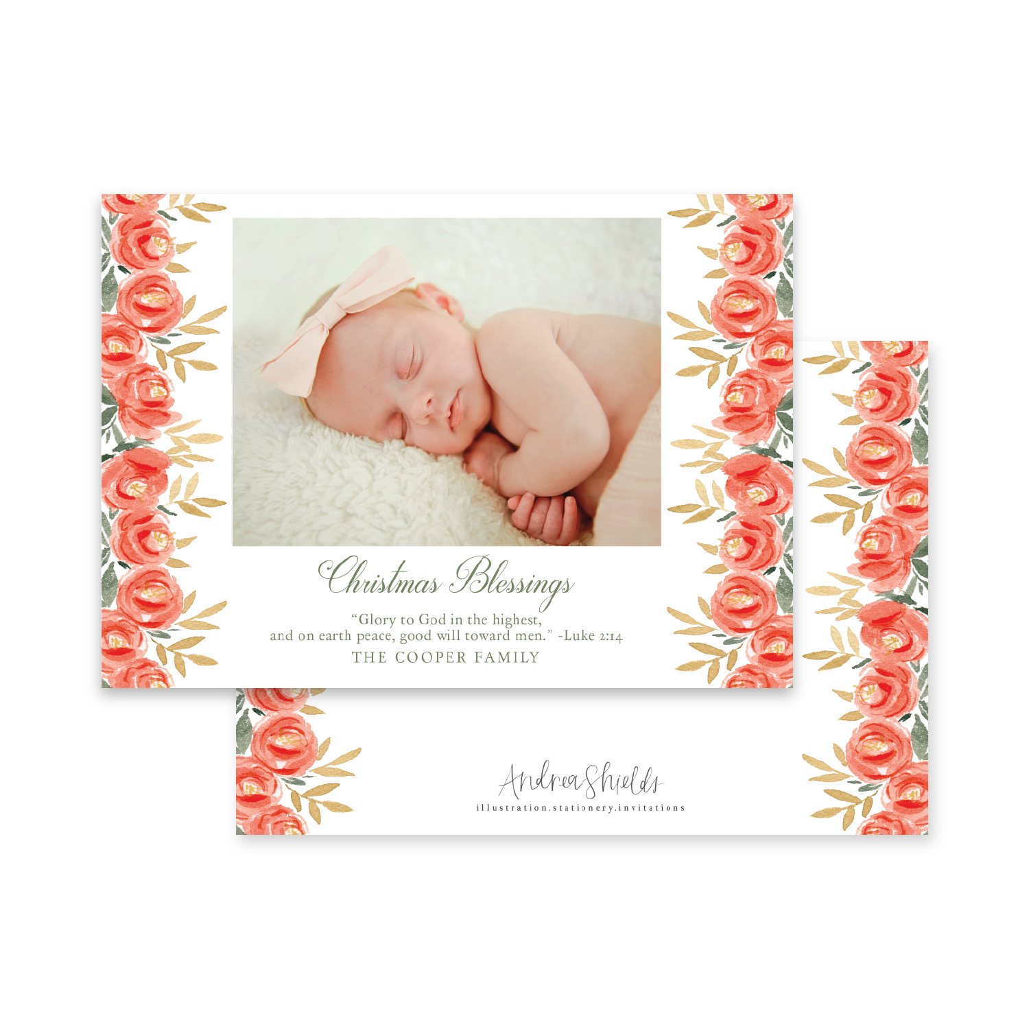 Red & Gold Floral Landscape | Holiday Photo Card