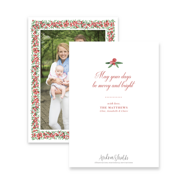 Red Berries Border | Holiday Photo Card