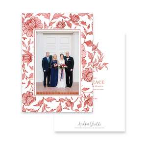 Red Chinoiserie Border | Holiday Photo Card