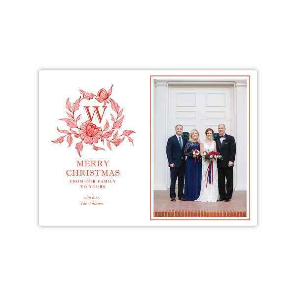 Red Chinoiserie Crest Landscape | Holiday Photo Card