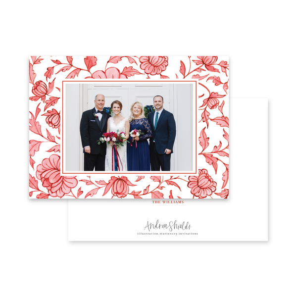 Red Chinoiserie Border Landscape | Holiday Photo Card