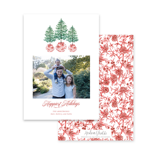 Three Trees Red Chinoiserie | Holiday Photo Card